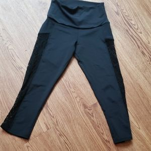 Onzie lace detail athletic black leggings